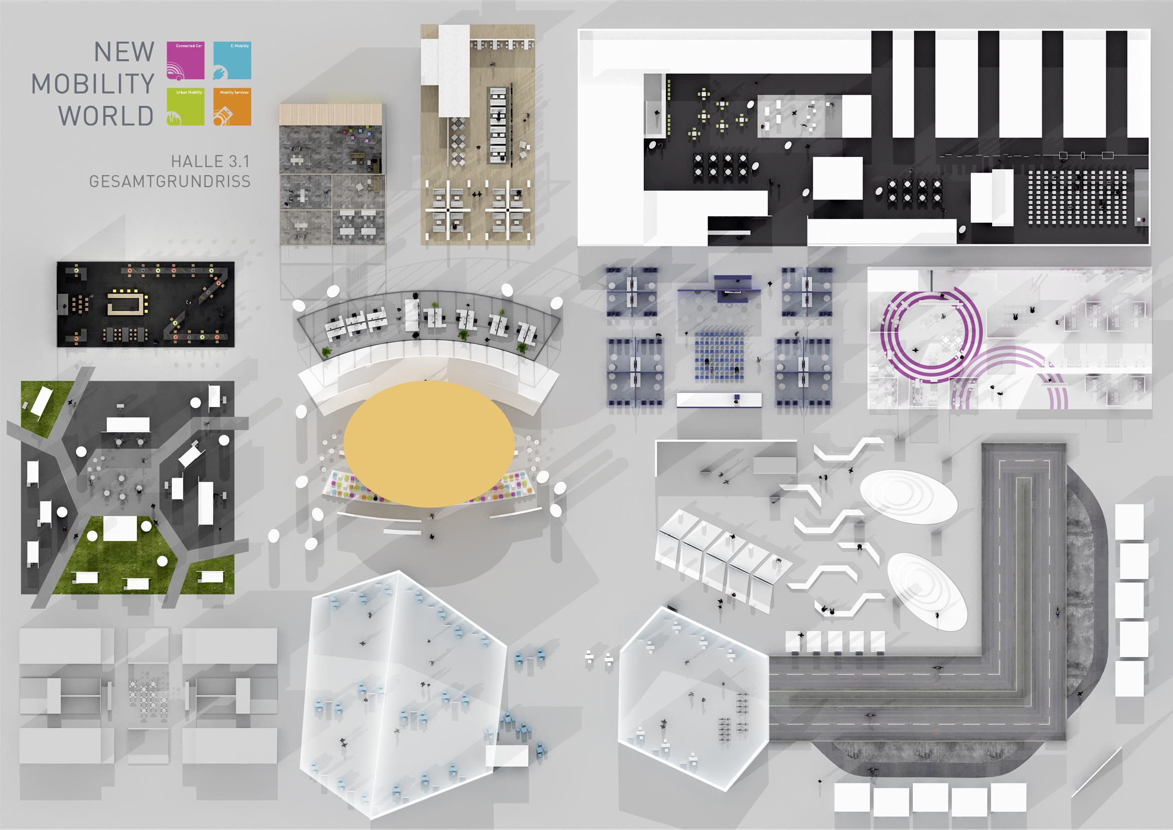 Corporate identity iaa ausstellungsbereich new mobility for Architektur layouts